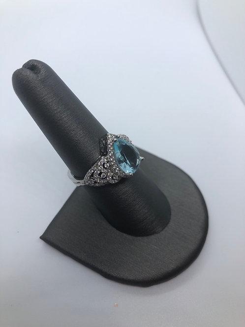 Blue crystal ornate ring