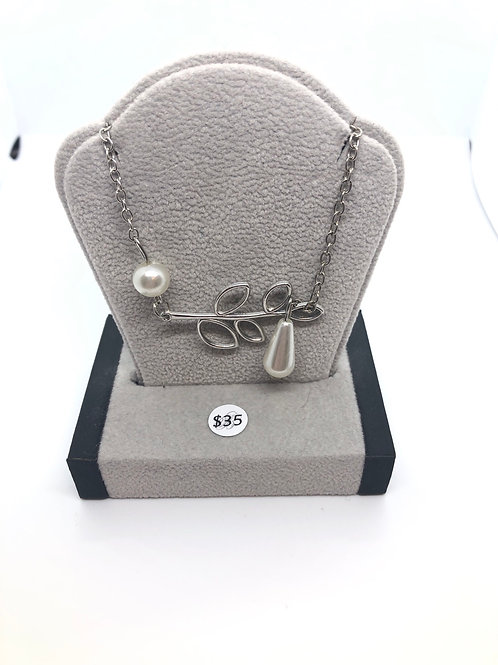 Pearl + Leaf Necklace