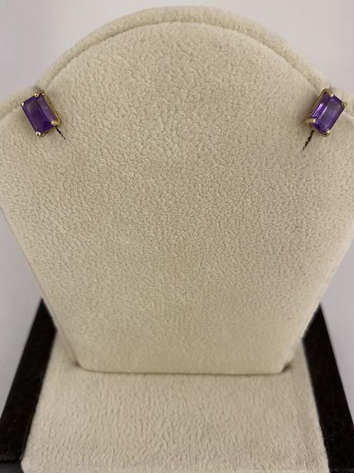Purple Rectangular Gem Studs