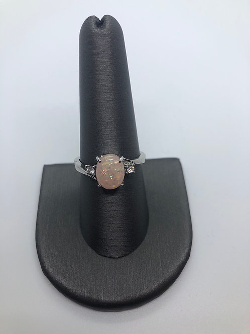 Vintage style pink lab created opal ring