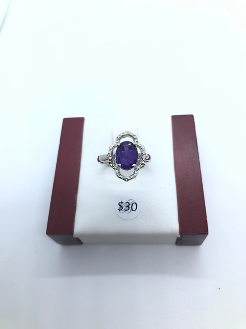 Purple + Cubic Zirconia Flower Ring