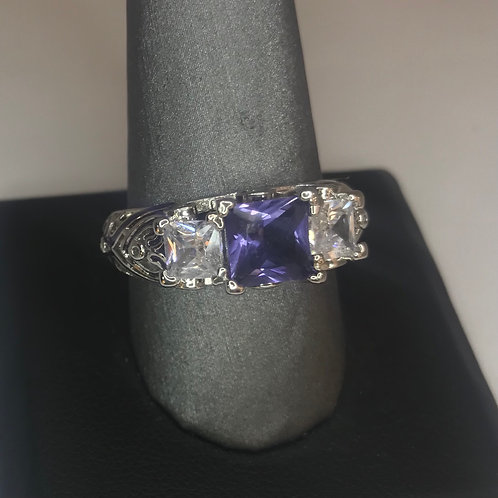 Lilac and silver square stone on heart band