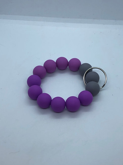Grey + Purple Keychain