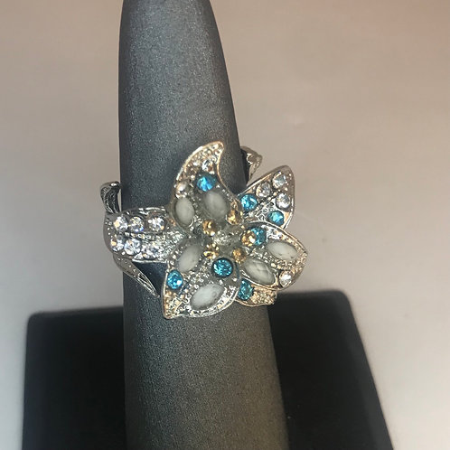 Blue, silver, and opal flower ring