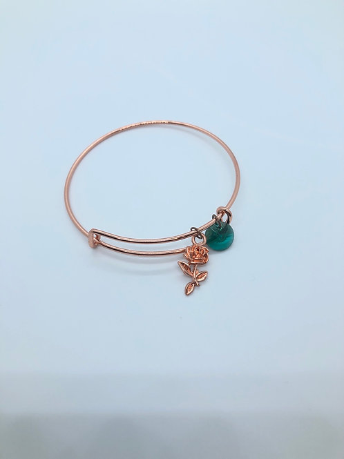 Emerald + Rose Gold Bangle