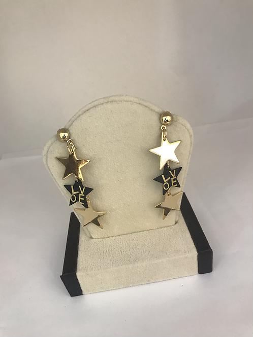 "Dangle Star ""Love"" Earrings"