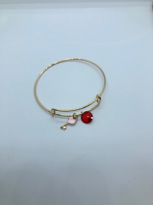 Red +Heart Key Bangle