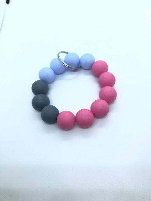 Grey + Baby Blue + Pink Keychain