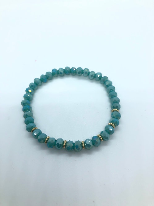 Turquoise + Gold Beaded Bracelet
