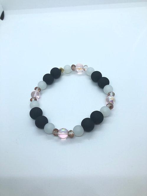 Black + White + Iridescent Beaded Bracelet