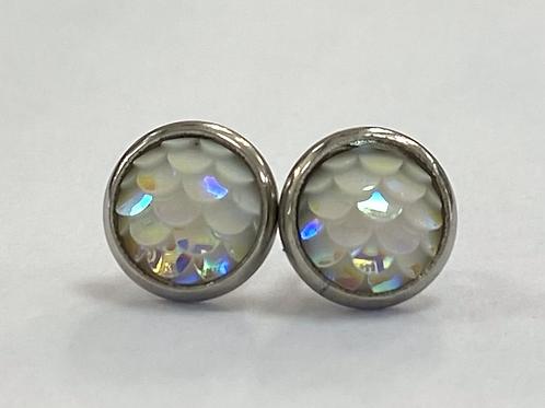 White Opal Scaled Druzy Earrings