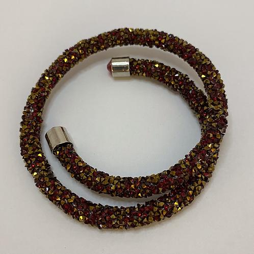 Burgundy and Gold Wrap Bracelet