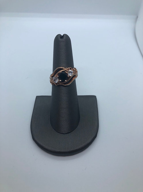 Black crystal and rose gold ring