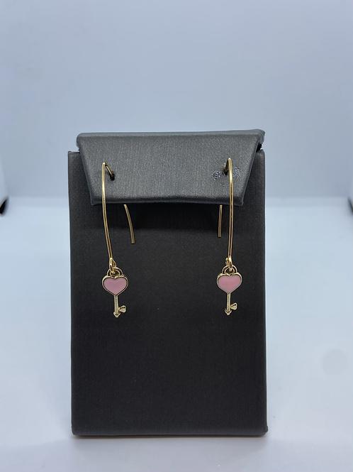 Gold heart key dangle earrings