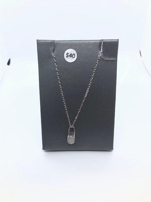 Cubic Zirconia Lock Necklace