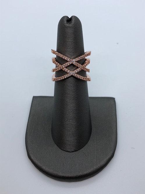 Crisscross rose gold ring