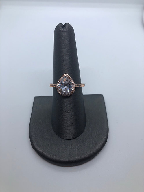 Rose gold pear ring