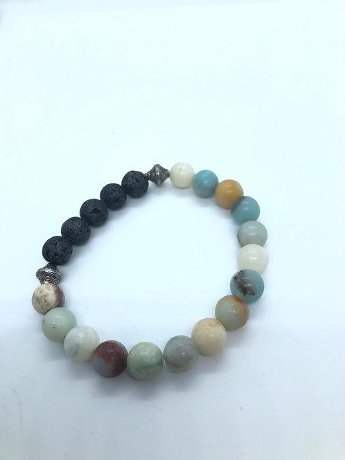 Moonstone + Coloured Beaded Bracelet