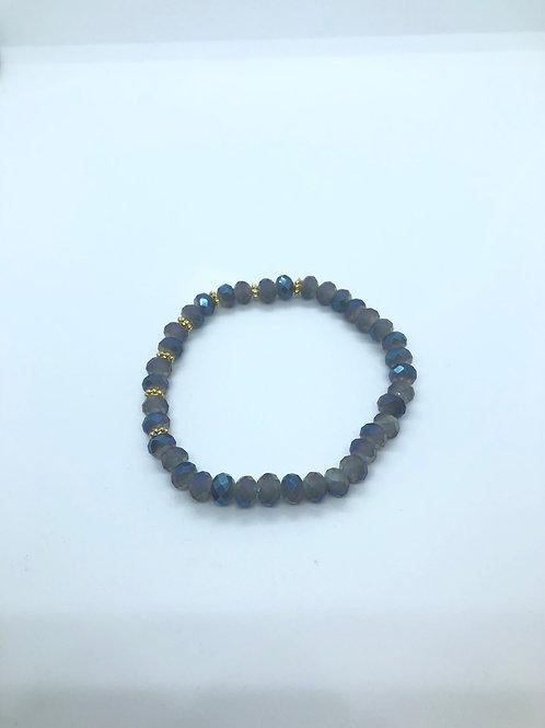 Blue + Gold Beaded Bracelet