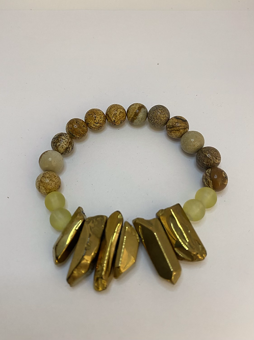 Gold Stone + Beads Bracelet