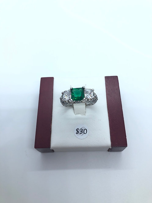 Square Green Cut Ring