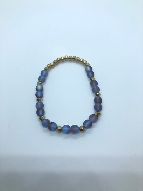 Blue + Gold Beaded Bracelet