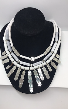 White + Silver Statement Necklace