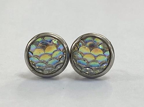 Silver Opal Scaled Druzy Earrings