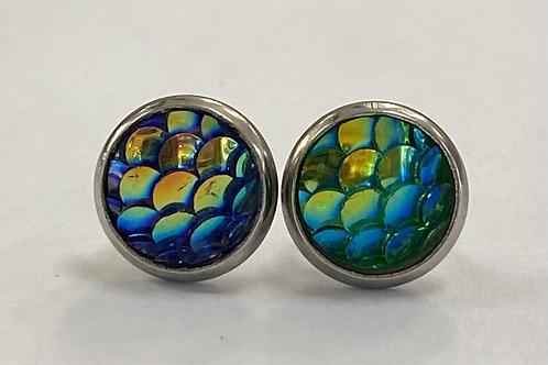 Aqua Scaled Druzy Earrings