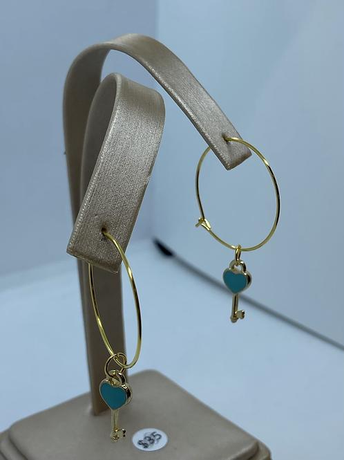 Gold heart key hoops