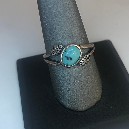Blue speckled stone ring