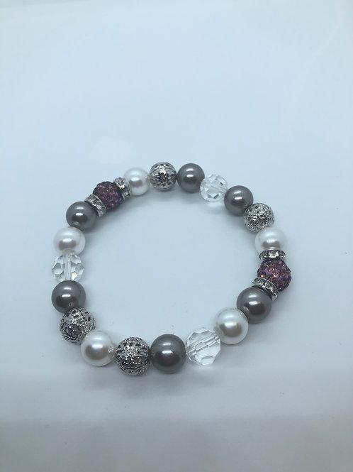 Silver + Mauve Beaded Bracelet