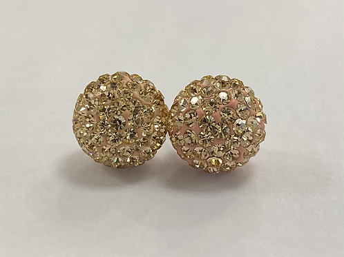 Champagne Rose Gold Crystal Ball Earrings