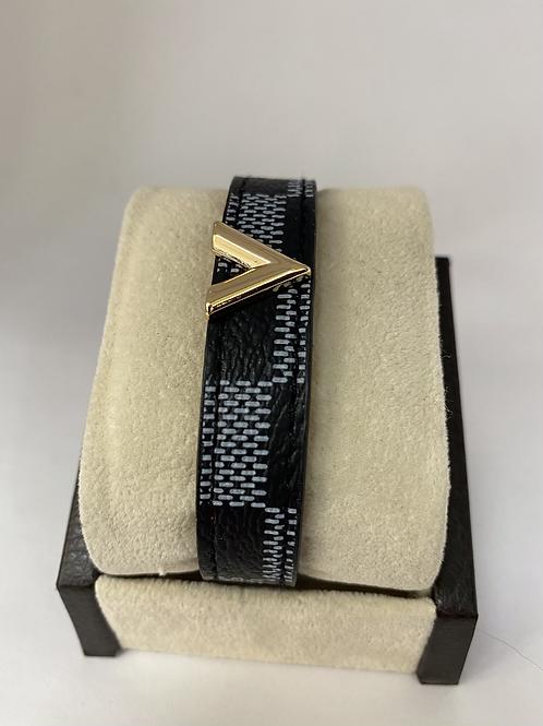 Black and Gold Leather Bracelet