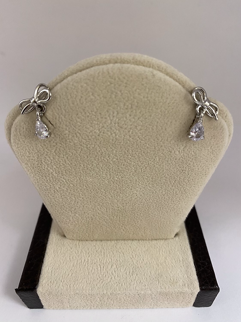 Silver Bow with White Gem Drop Studs