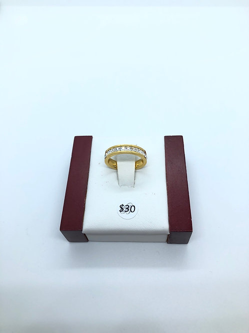 Gold + Cubic Zirconia Ring