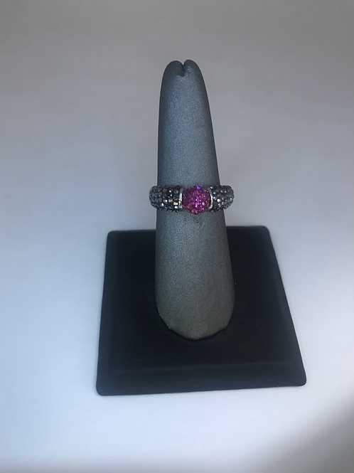 Hematite/fuchsia crystal ball ring