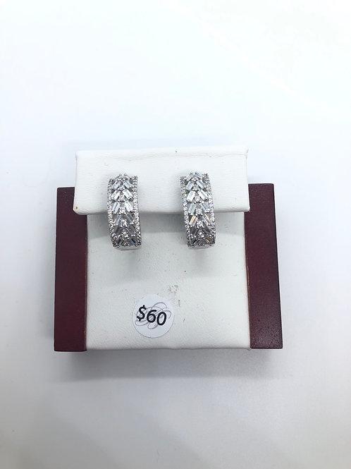 Silver + Cubic Zirconia Hoops