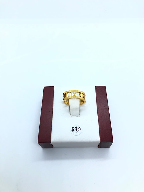 Roman Numeral Gold Ring
