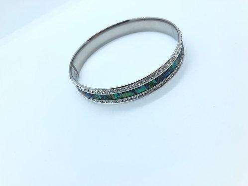Green + Blue + Crystal Bangle