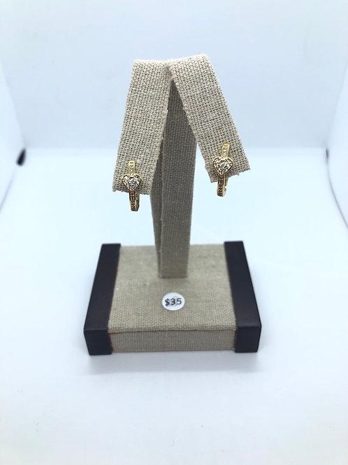 Gold + Cubic Zirconia Heart Hoops