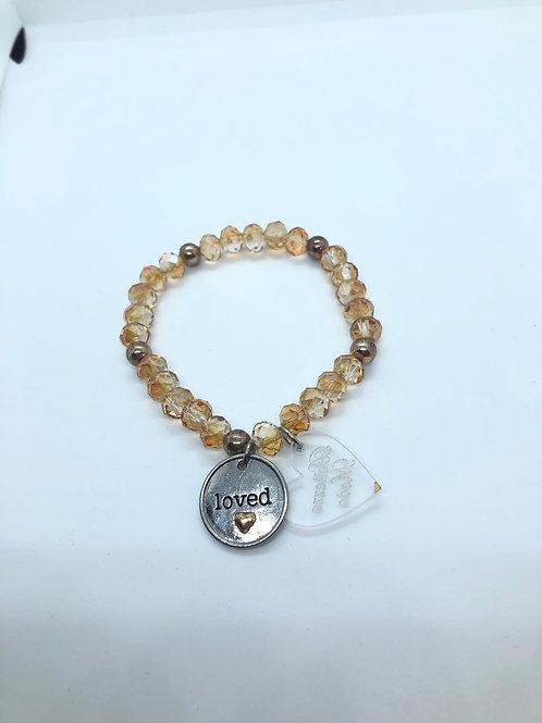 """Rose Gold """"Love"""" Beaded Bracelet"""