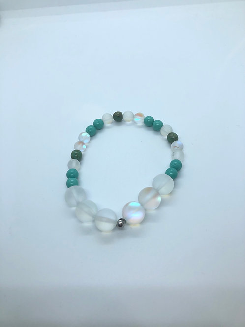 Iridescent + Green + Turquoise Bracelet