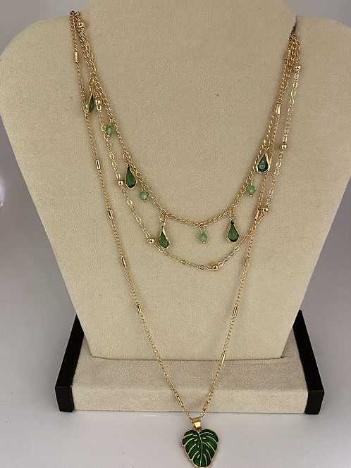 Rose Gold + Emerald Gems Layered Necklace