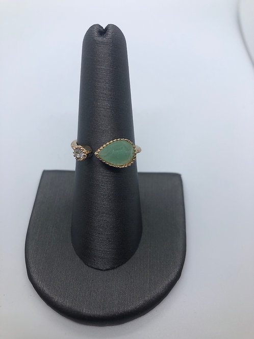 Chrysolite coloured pear ring