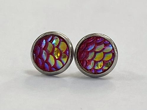Fuchsia Scaled Druzy Earrings