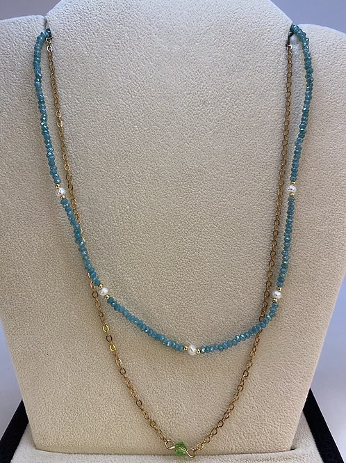 Blue and Gold Layered Necklace
