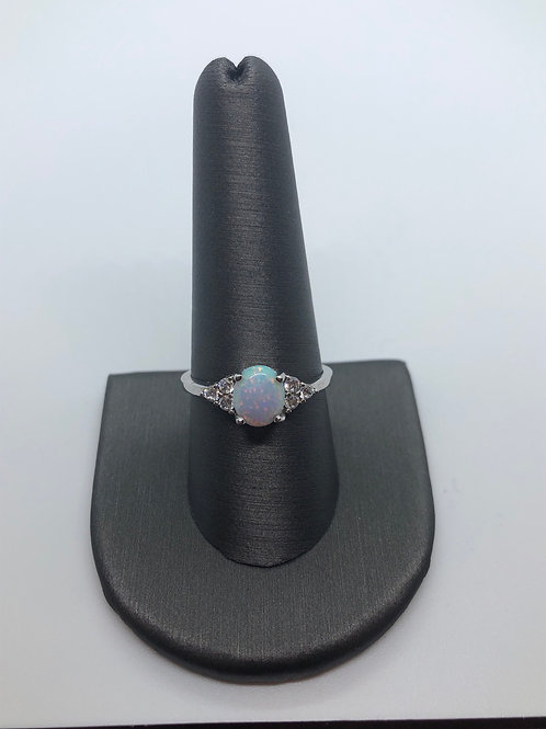 Vintage style lab created opal ring