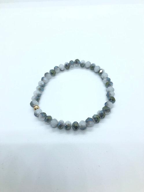 Grey + Green Beaded Bracelet