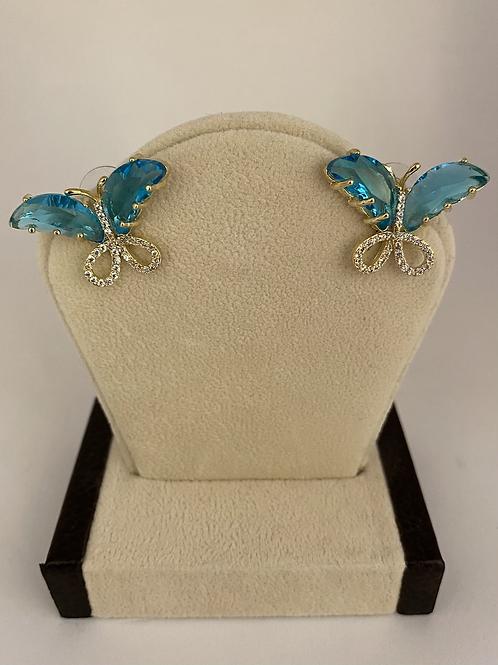 Gold +Blue Glass Butterfly Earrings
